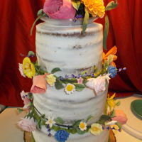 Garden Wedding Carrot cake with skim coat cream cheese icing and gum paste flowers