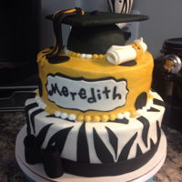 Girlie Graduation 2 Zebra prints adds fun to this graduation cake.