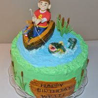 Gone Fishing Gone Fishing cake I made for my Grandson's 8th Birthday. It's WASA with Cookie Dough Filling. The boat is made out of Rice...