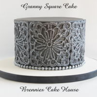 Granny Square Cake cake made with a Granny Square crochet pattern
