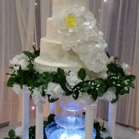 Hand Made Lace 4 Tier Wedding Cake With Hand Made Wafer Paper Flower Spray yummy red velvet with cream cheese filling