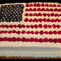 Happy Independence Day Our version of the American flag. Raspberries are exactly the right width. There are 13 stripes, raspberries and whipped cream topping,...