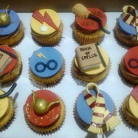 Harry Potter Cupcakes Yellow Cupcakes with Chocolate Butter cream frosting. Fondant and gumpaste toppers.