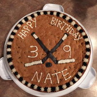 Hockey Cookie Cake Chocolate chip cookie cake with BC accents