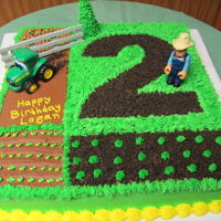 "John Deere 2Nd Birthday Cake With Tractor 16""x16"" cake with all buttercream.Number 2 done with crushed oreos."