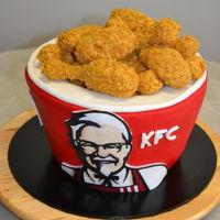 Kfc Bucket Cake Bucket: Chocolate Mud & Marble Cake with Fondant and Edible Images Chicken: Tim Tams & Cream Cheese Cookie Pop with Cornflakes