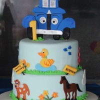 "Little Blue Truck I made this ""Little Blue Truck"" cake for my nephews 1st birthday. The idea was taken from Pinterest."