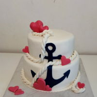 Love Cake With Anchor   Elegant love cake in maritime- style.