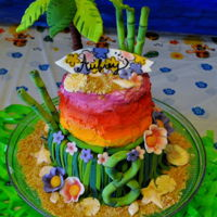 Luau Cake Two tiered Luau themed cake featuring fondant palm trees, bamboo, seashells, flowers, grass skirt and a surf board.