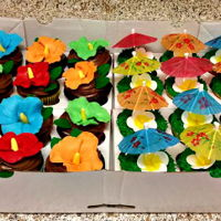 Luau Cupcakes Luau Cupcakes with Flowers and Little Umbrella's