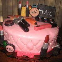 Mac Makeup   2 layer round covered with MMF. Makeup made with MMF and gumpaste mixed.