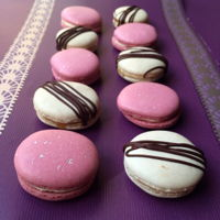 Macarons! Salted caramel, and raspberry and white chocolate macarons. Yummy!