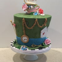 Mad Hatter Tea Party Birthday Cake Double Barrel, fondant, with all edible sugar paste decorations. Thanks to all the great ideas posted on CC.