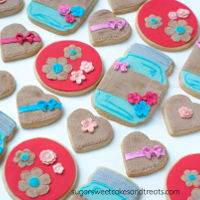 Mason Jar And Burlap Cookies  Vanilla Bean Shortbread Cookies: Mason Jars, Large Circles, and Heart Cookies. Decorated in fondant and accented in fondant flower blossoms...
