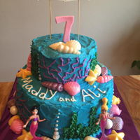 Mermaid Mermaid cake frosted in BC with toys as accents. Shells are white chocolate brushed with pearl dust.