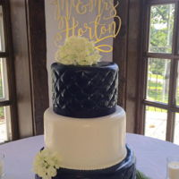 Navy And White Wedding Quilted navy and white wedding cake with white sour cream cake and Raspberry jam filling,