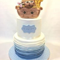 Noah's Ark Baptism Cake Noah's Ark baptism cake, with handmade arc and animal topper