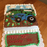 Out On The Farm   Birthday cake for my son-in-law. He loves is tractor!