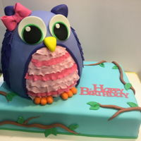 Owl Birthday A pink velvet owl on a white chocolate 9x13 sheet cake. Both filled and iced in vanilla buttercream and covered in fondant. I was going to...