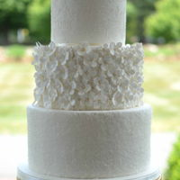 Peony Wedding Cake   Hydrangeas, sugar and lace add lots of texture to this classic wedding cake.