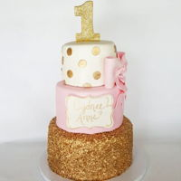 Pink And Gold 1St Birthday Gold sequins, hand painted name plaque