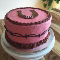 Pink Western   vanilla cake with strawberry mousse filling, frosted BC with BC barbed wire and fondant horseshoe