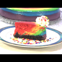 Raspberry Rainbow New York Style Cheesecake New York style cheesecake with 2 raspberry flavored layers. Has all the colors of the rainbow in a tie dyed effect. It's a beautiful...