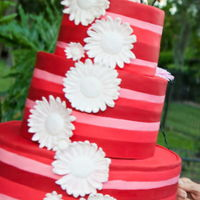 Red Striped Wedding Cake   Hands down the most fun wedding cake! I cut stripes of fondant and rolled together. Gerbera daisies were gum paste. TFL!!