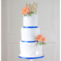 Royal Blue With Peach And Gold The love these colors and used it during the whole day.Ofcourse also on their weddingcake