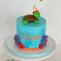"Sea Turtle Birthday Cake A small 6"" birthday cake for my son. Buttercream with fondant coral and sea turtle."