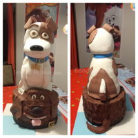 Secret Life Of Pets Cake Chocolate cake with chocolate ganache and fondant. 3D carved cake with rice crispy head. Duke: Torta de chocolate con ganache de chocolate...
