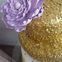 Sequin Wedding Cake 3 Tier Wedding cake with gold sequins and gumpaste peony topper.