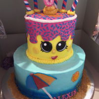 Shopkins Pool Party Shopkins pool party birthday cake. Devils Food top cake with White cake bottom, both with cake mix extender used. Standard 1/2 shortening 1...