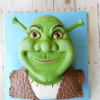 Shrek's Head I tried to make shrek and I didn't build up his jaw enough. It's a chocolate cake with fondant pieces to make the details of the...