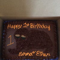 Snuffleupagus Cake 9x13 chocolate cake with some fondant in decorations