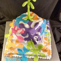"Splatoons For Jake. Single layer cakes, iced and placed with each corner 2.5"" to the left of the corner on the tier below it. Gives it a twisted effect...."