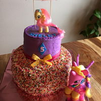 Sprinkle Cake   Frosted in BC, covered in sprinkles and MLP are toys.