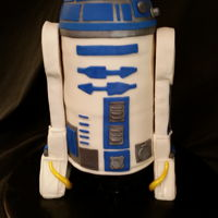 "Star Wars - R2D2 Vanilla Cake, Buttercream Icing, Marshmallow Fondant and Krispie Treat Legs. Used 6"" cake pans and a small sports ball pan for the..."