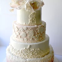 Summer Wedding Cake 4 Tier Wedding Cake with romantic frills, beading and lace work with sugar flowers.