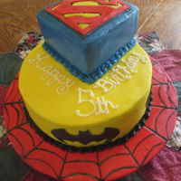 Super Hero Cake A super hero cake for a little super hero who was turning 5 when I made this cake. He is now an angle. :(
