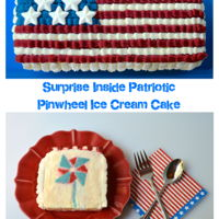Surprise Inside Patriotic Pinwheel Ice Cream Cake Cake pinwheels hidden inside yummy vanilla ice cream and topped with a Swiss Meringue buttercream flag.