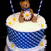 Teddy Bear Gingham Baby Shower Cake Teddy Bear Blue Gingham Baby-Q Shower Cake. Congratulations and Best Wishes to the Mommy and Daddy to be!