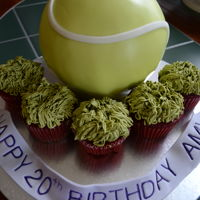 "Tennis Themed Birthday Cake Red velvet 6"" tennis ball cake with cupcakes with green tea SMB"