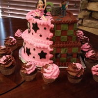 Twins Cake / Girl-Boy This was for my twin grand kids Camy and Jordan. As you can see they are into very different things!! Her side is round and pink and about...
