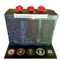 Vietnam Wall Military Appreciation Week Cake Choc/vanilla cake with actual names from the wall.