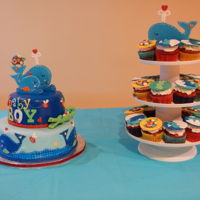 Whale Theme Fondant Cake baby shower cake - fondant covered whale theme