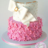 White Gold And Pink Flower Clusters  A friends daughter asked for a white, pink, and gold cake with a big bow for her 18th birthday and this is what I surprised her with. The...