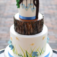 Woodland Baby Shower Cake   A sweet baby owl tops this woodland themed baby shower cake.