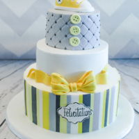 Yellow And Gray Baby Shower Cake I'm in love with this color combinaison!