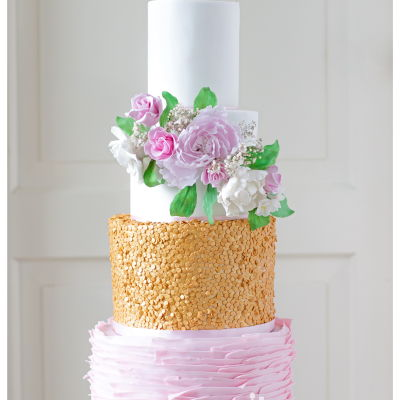 Bohemian, Sugar Flowers, Pink And Golden Sequins